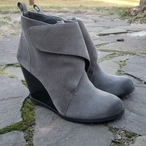 BCBGeneration Grey / Gray suede wedge ankle bootie